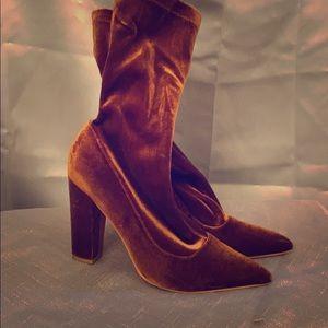 Rust faux velvet ankle boots